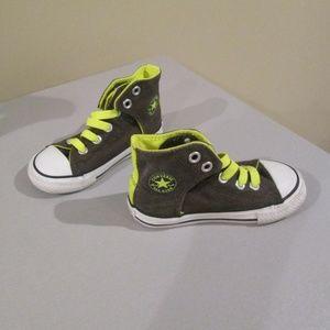 Converse All Star Gray Neon Green Hi Top Sneakers